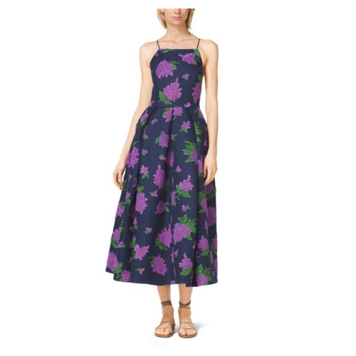 MICHAEL KORS COLLECTION Lilac-Embroidered Silk And Wool Mikado Dress INDIGO