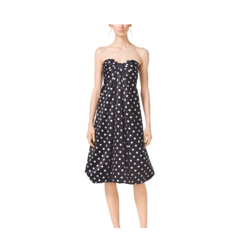 MICHAEL KORS COLLECTION Polka-Dot Silk-Satin Bow Dress BLACK/WHITE