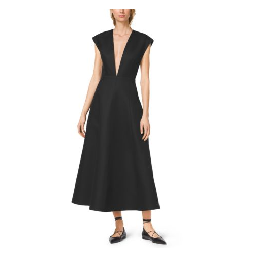 MICHAEL KORS COLLECTION Silk And Wool Mikado Plunge Dress BLACK