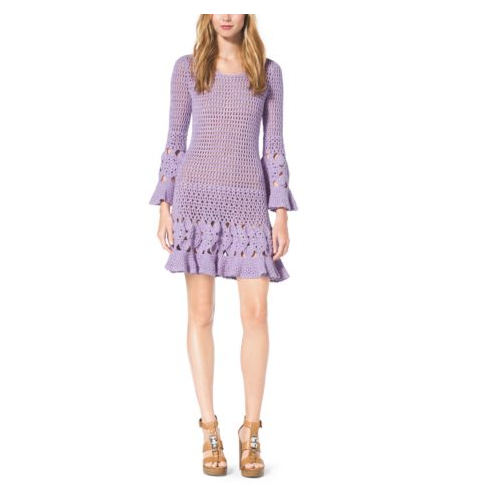 MICHAEL KORS COLLECTION Hand-Crocheted Cotton Cashmere Dress THISTLE
