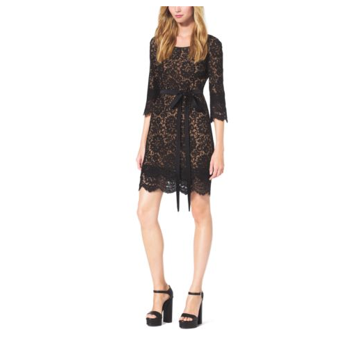 MICHAEL KORS COLLECTION Scalloped-Lace Shift Dress BLACK