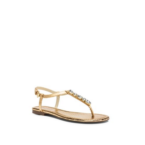 MICHAEL MICHAEL KORS Jayden Embellished Metallic Embossed-Leather Sandal PALE GOLD
