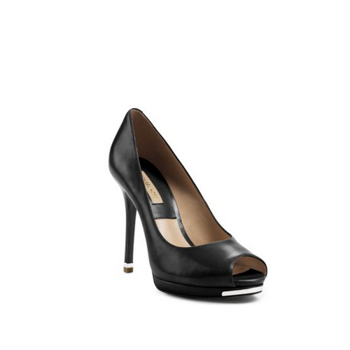 MICHAEL MICHAEL KORS Brenda Peep-Toe Leather Pump BLACK