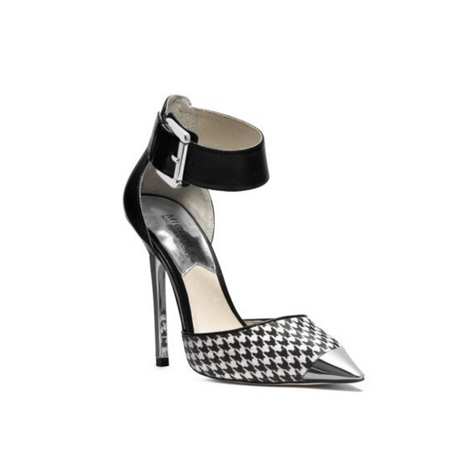 MICHAEL MICHAEL KORS Zady Ankle-Strap Houndstooth Pump BLACK/WHITE