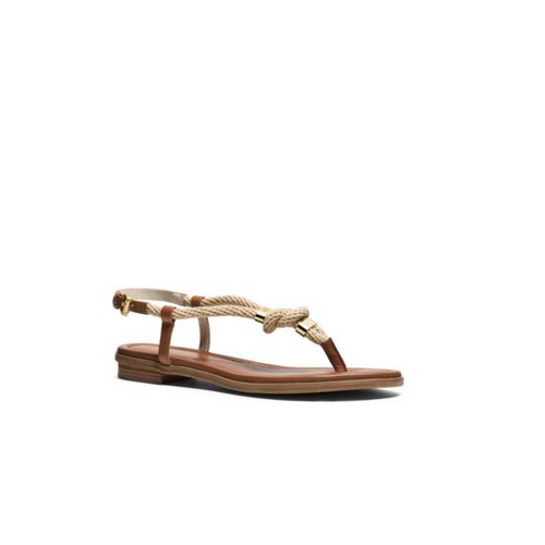 MICHAEL MICHAEL KORS Holly Rope-Trim Leather Sandal NATURAL