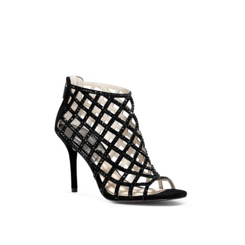 MICHAEL MICHAEL KORS Yvonne Crystal And Suede Cage Pump BLACK