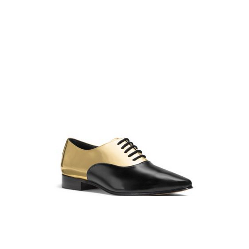 MICHAEL MICHAEL KORS Lottie Metallic Leather Oxford BLACK/GOLD