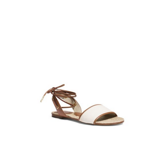 MICHAEL MICHAEL KORS Lilah Canvas And Leather Sandal NATURAL