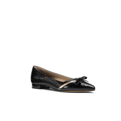 MICHAEL MICHAEL KORS Joey Embossed-Leather Bow Flat BLACK