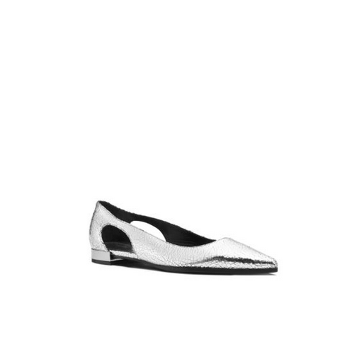 MICHAEL MICHAEL KORS Etta Runway Crackled Metallic Leather Flat SILVER