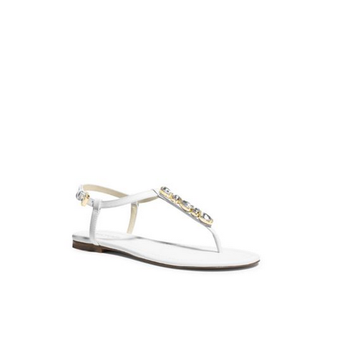 MICHAEL MICHAEL KORS Jayden Embellished-Leather Sandal OPTIC WHITE