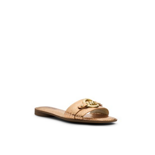 MICHAEL MICHAEL KORS Molly Metallic Embossed-Leather Sandal PALE GOLD