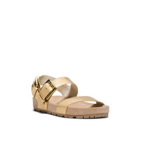 MICHAEL MICHAEL KORS Sawyer Metallic Embossed-Leather Sandal PALE GOLD