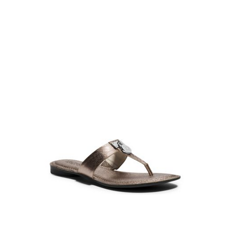MICHAEL MICHAEL KORS Hamilton Metallic Leather Sandal NICKEL