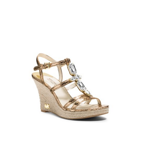 MICHAEL MICHAEL KORS Jayden Metallic Leather Wedge PALE GOLD