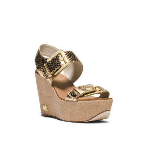 MICHAEL MICHAEL KORS Warren Metallic Embossed-Leather Wedge PALE GOLD