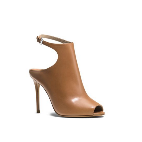 MICHAEL MICHAEL KORS Cece Peep-Toe Leather Pump SUNTAN