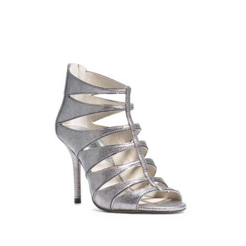 MICHAEL MICHAEL KORS Mavis Embossed-Leather Sandal NICKEL