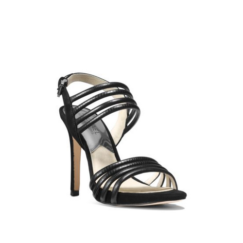 MICHAEL MICHAEL KORS Cameron Embossed-Leather Sandal BLACK