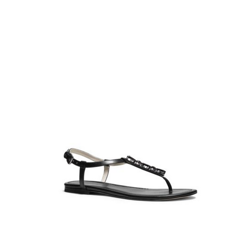 MICHAEL MICHAEL KORS Jayden Embellished Leather Sandal BLACK