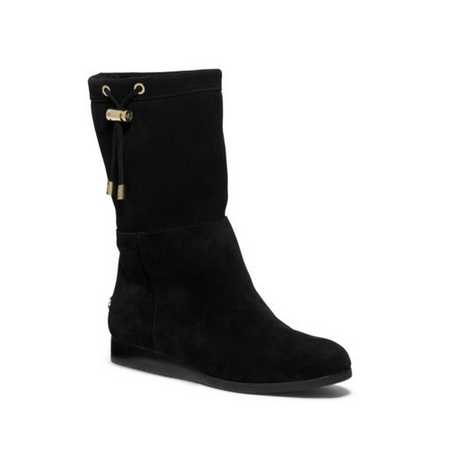 MICHAEL MICHAEL KORS Lizzie Shearling-Lined Suede Boot BLACK