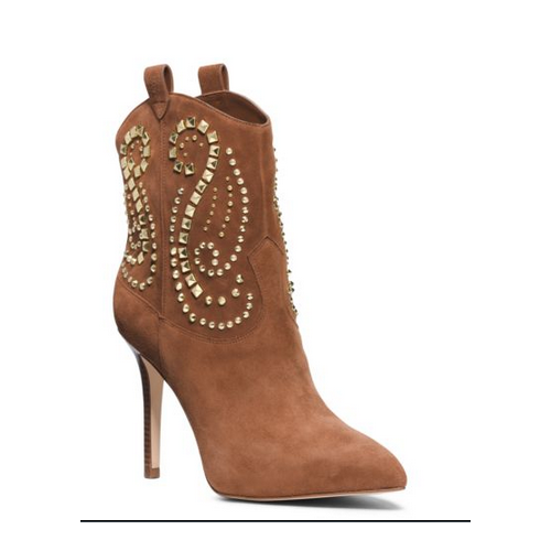 MICHAEL MICHAEL KORS Reena Studded Suede Ankle Boot CARAMEL