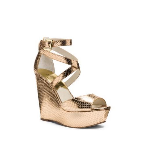 MICHAEL MICHAEL KORS Gabriela Metallic Embossed-Leather Wedge PALE GOLD