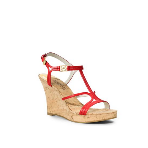 MICHAEL MICHAEL KORS Cicely Patent-Leather And Cork Wedge MANDARIN