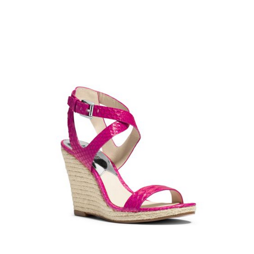 MICHAEL MICHAEL KORS Kaylee Embossed-Leather Wedge FUCHSIA