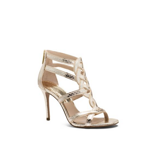 MICHAEL MICHAEL KORS Branson Leather And Snakeskin Sandal SUNGLOW