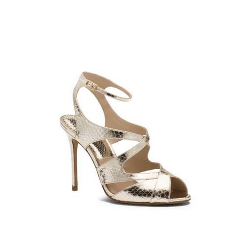 MICHAEL MICHAEL KORS Cordelia Leather And Snakeskin Sandal SUNGLOW