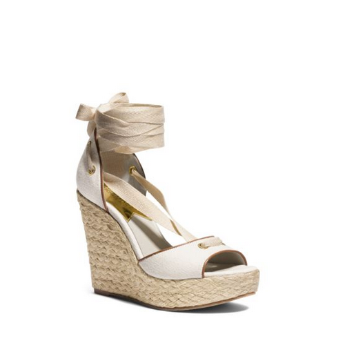 MICHAEL MICHAEL KORS Lilah Canvas And Leather Wedge NATURAL