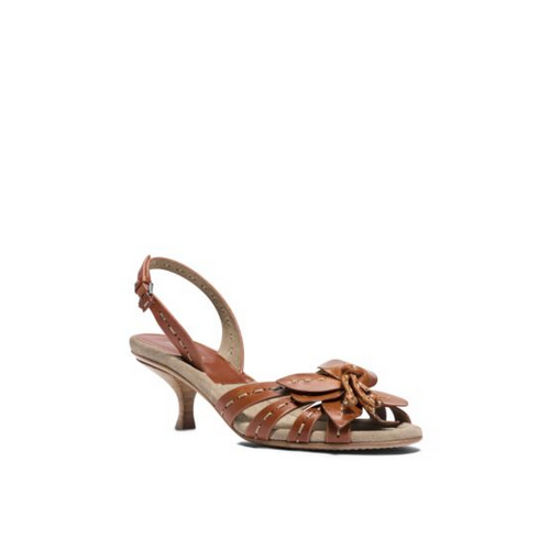 MICHAEL MICHAEL KORS Rae Runway Floral Leather Sandal LUGGAGE