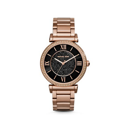 MICHAEL KORS Catlin Pavé Onyx And Rose Gold-Tone Watch
