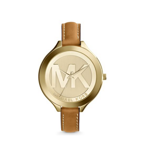 MICHAEL KORS Slim Runway Leather And Gold-Tone Watch