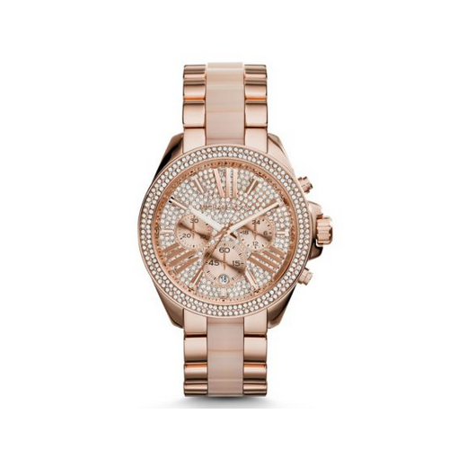 MICHAEL KORS Wren Pavé Acetate And Rose Gold-Tone Watch
