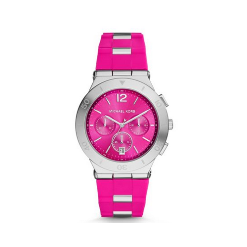 MICHAEL KORS Wyatt Silver-Tone Pink Silicone Watch