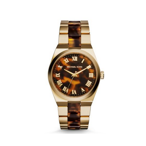 MICHAEL KORS Channing Gold-Tone Tortoise Acetate Watch
