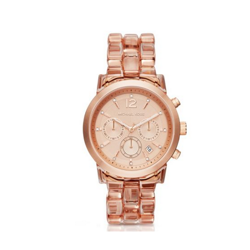 MICHAEL KORS Audrina Blush Acetate And Rose Gold-Tone Watch