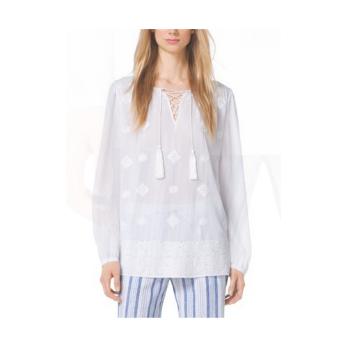 MICHAEL MICHAEL KORS Embellished Georgette Top WHITE/WHITE