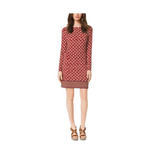 MICHAEL MICHAEL KORS Leaf-Print Jersey Dress GRENADINE