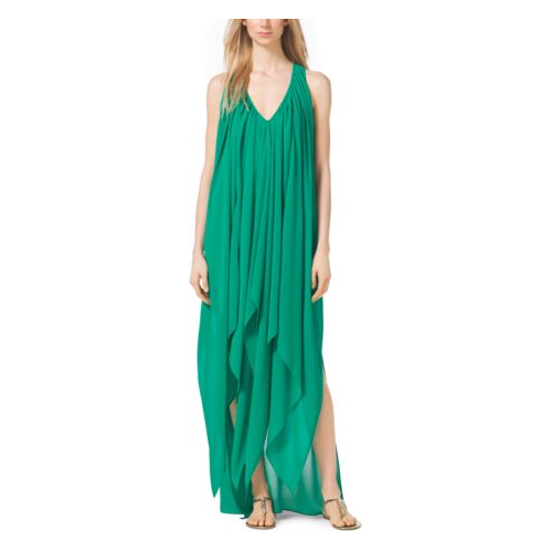 MICHAEL MICHAEL KORS Draped V-Neck Caftan PEPPER GREEN