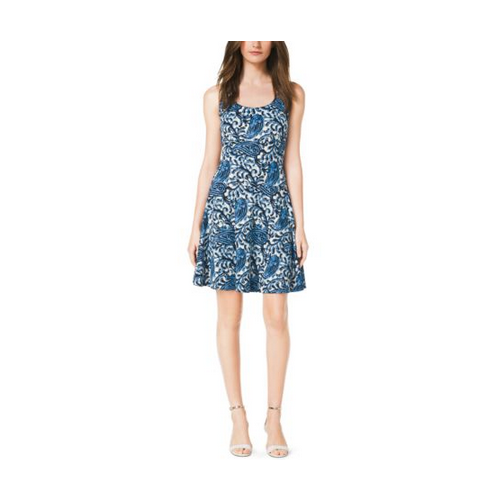 MICHAEL MICHAEL KORS Paisley-Print Flared Dress HERITAGE BLUE
