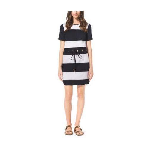 MICHAEL MICHAEL KORS Striped Drawstring Stretch-Cotton Dress WHITE