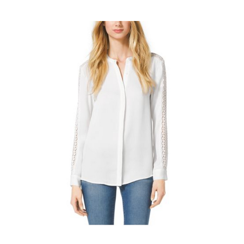MICHAEL MICHAEL KORS Lace-Trim Silk Blouse ECRU
