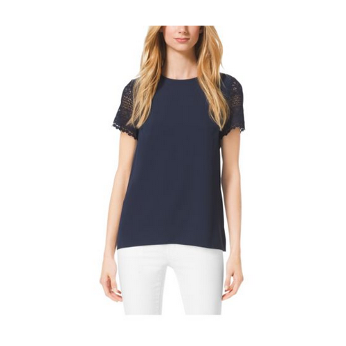 MICHAEL MICHAEL KORS Crochet-Sleeve Pleat-Back Shirt NAVY