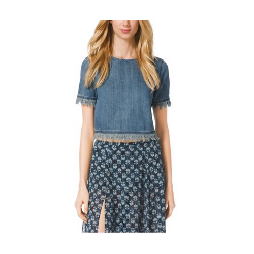 MICHAEL MICHAEL KORS Frayed Denim Crop Top