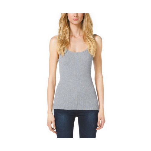 MICHAEL MICHAEL KORS Ribbed Stretch-Knit Cotton-Blend Tank PEARL GREY