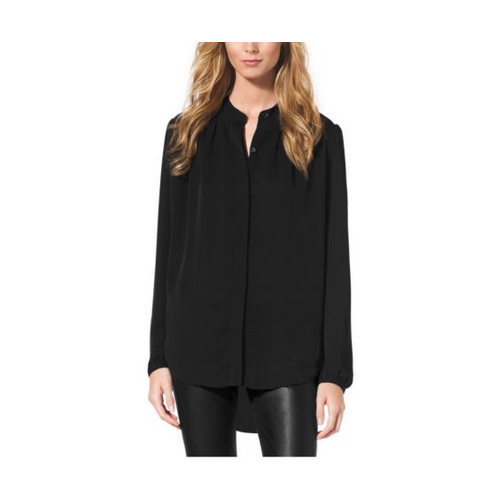 MICHAEL MICHAEL KORS Pleated Silk Blouse BLACK