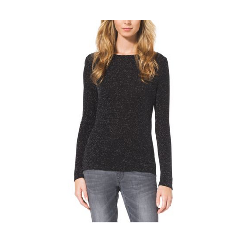 MICHAEL MICHAEL KORS Long-Sleeve Cowl-Back Top BLACK/SILVER